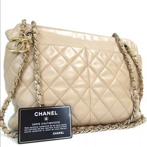 Authentic Chanel beige Shoulder double chain bag